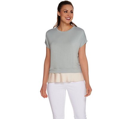 LOGO by Lori Goldstein Drop Shoulder Knit Top with Pleated Trim