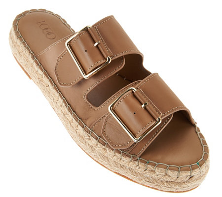 LOGO by Lori Goldstein Double Buckle Espadrille Sandals