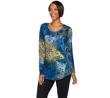 Logo By Lori Goldstein Printed Knit Top With Solid Godets