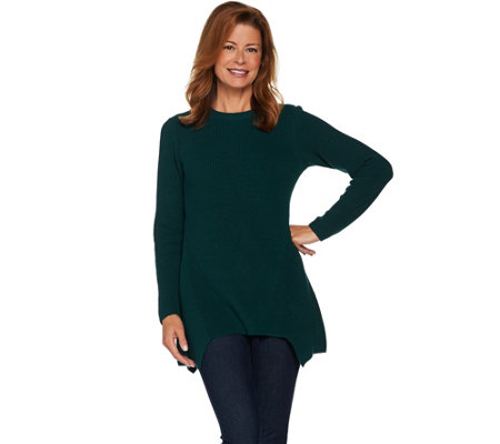 LOGO by Lori Goldstein Crew Neck Sweater with Asymmetric Hem