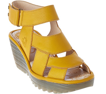 782b4ddcf92 FLY London Leather Wedge Sandals - Yair - Page 1 — QVC.com