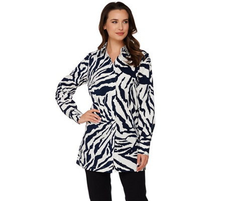 """As Is"" Dennis Basso Animal Print A-Line Blouse with Long Sleeves"