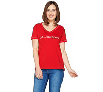 Peace Love World Pima Cotton Affirmation Knit Top - A288674