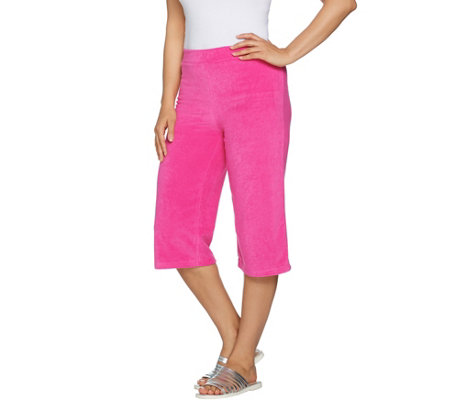 Quacker Factory Terry Cloth Pull-On Capri Pants with Grommet Detail