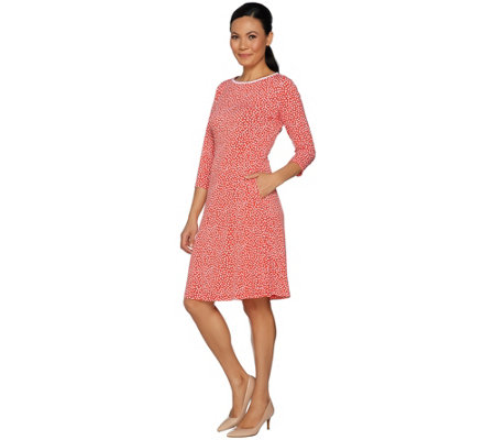 Susan Graver Printed Liquid Knit Elbow Sleeve Dress