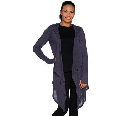 AnyBody Loungewear Brushed Hacci Hooded Cascade Cardi