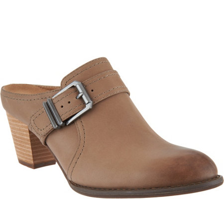 Vionic Leather Heeled Mules - Cheyenne