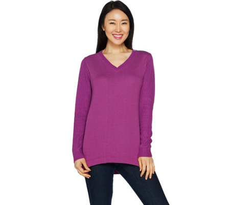 H by Halston French Terry and Sweater Knit Mix Pullover