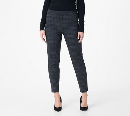 Joan Rivers Petite Length Plaid Pull-On Ankle Pants