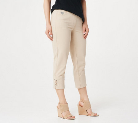Quacker Factory DreamJeannes Grommet Lace Up Crop Pants