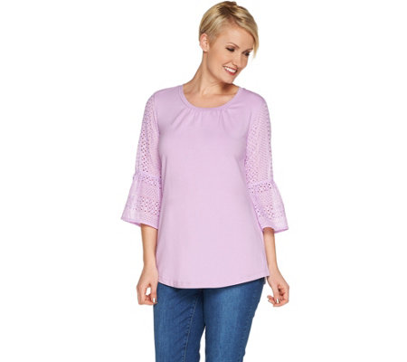 Isaac Mizrahi Live! Elbow Sleeve Knit-to-Woven Tunic
