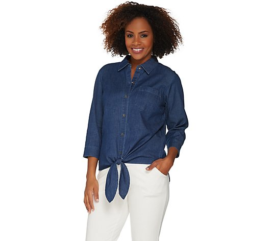 Belle by Kim Gravel Tie Front Denim Shirt