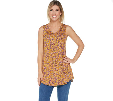 LOGO Layers by Lori Goldstein Printed Knit Tank with V-Neckline