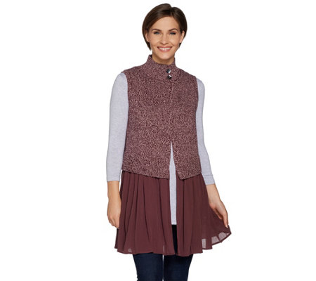"""As Is"" LOGO by Lori Goldstein Sweater Knit Vest with Woven Trim"