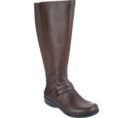 """As Is"" Clarks Leather Wide Calf Tall Shaft Boots- Cheyn Whisk"