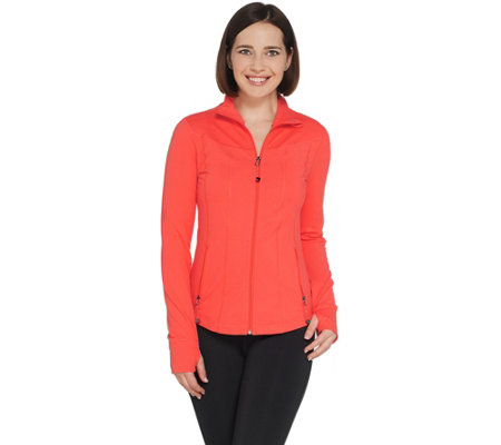 Susan Lucci Collection Zip Front Jacket with Stitching