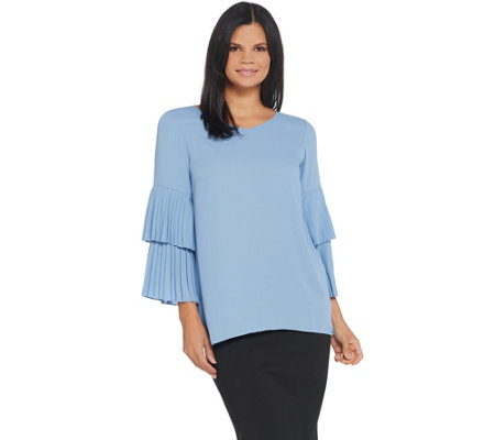 Joan Rivers V-Neck Top with Pleated Sleeves