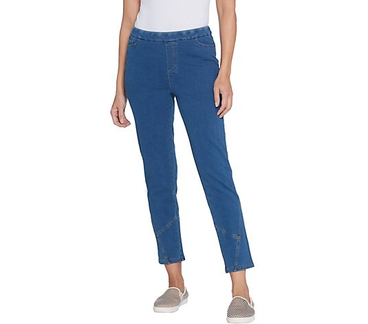 Denim & Co. Regular Comfy Denim Ankle Jeans w/ Seaming Detail