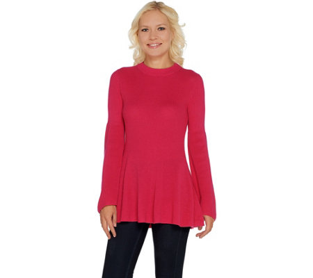 """As Is"" Laurie Felt Cashmere Blend Sweater with Bell Sleeves"