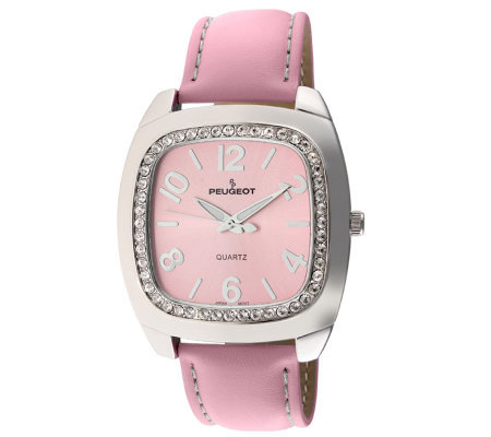 Peugeot Ladies Silvertone Swarovski Crystal Pink Strap Watch