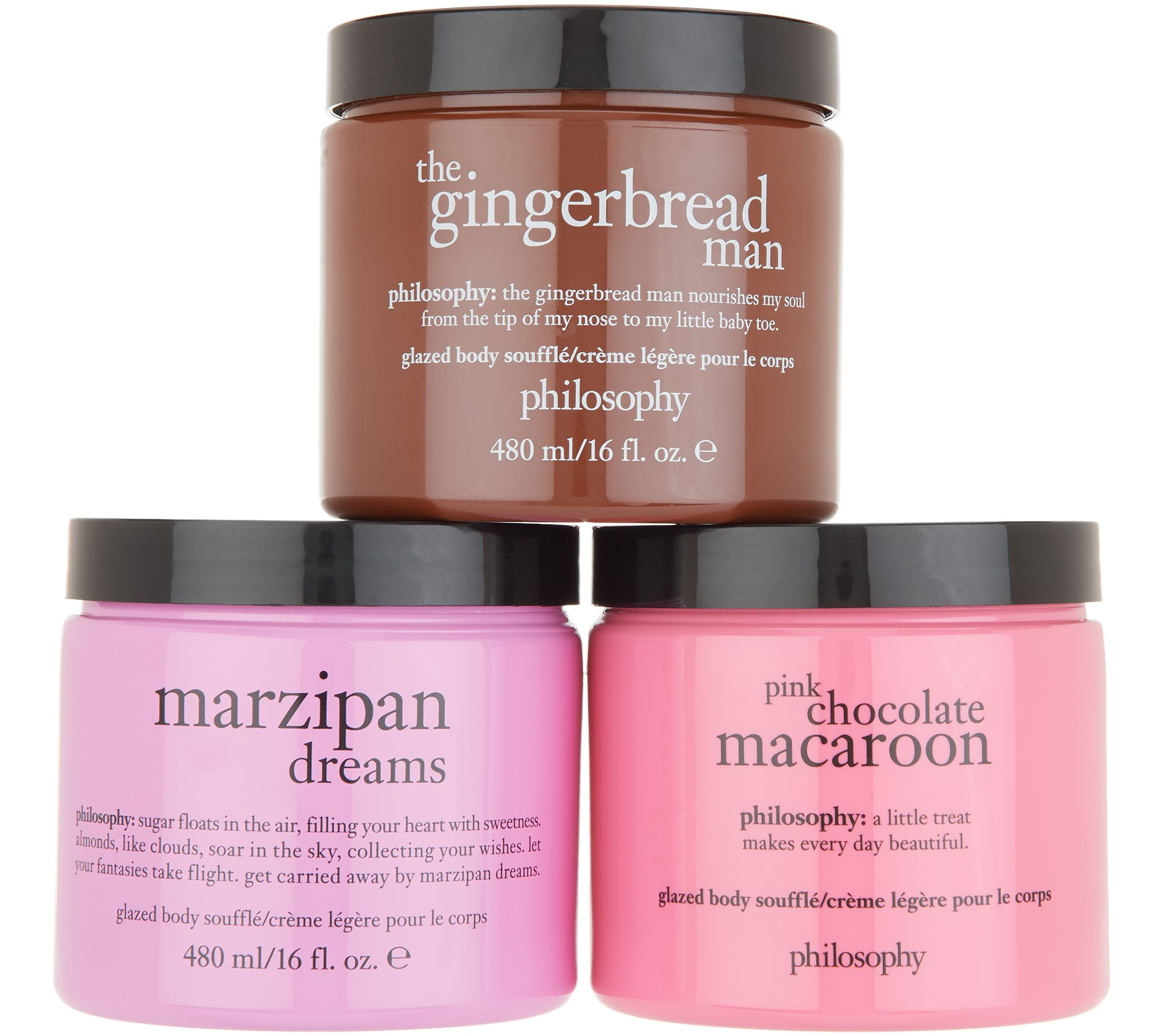 Three glazed body souffles that hydrate and smooth skin