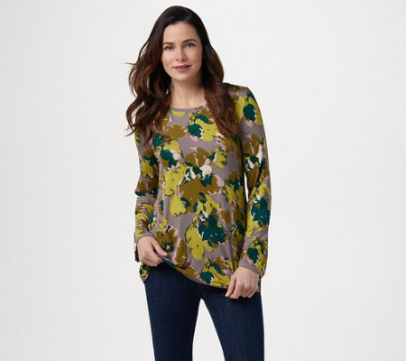 LOGO by Lori Goldstein Printed Knit Top with Long Sleeves