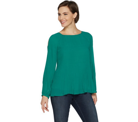 As Is Susan Graver Pleated Woven Cold Shoulder Top