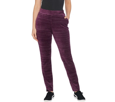 Denim & Co. Regular Space Dye Velour Straight Leg Pants