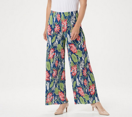 Joan Rivers Petite Floral Print Accordion Pleat Palazzo Pants