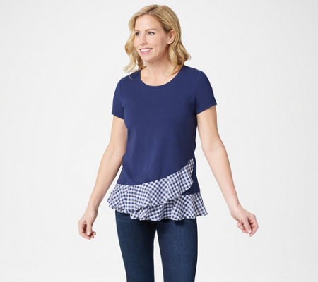 Isaac Mizrahi Live Short Sleeve Top With Gingham Ruffles