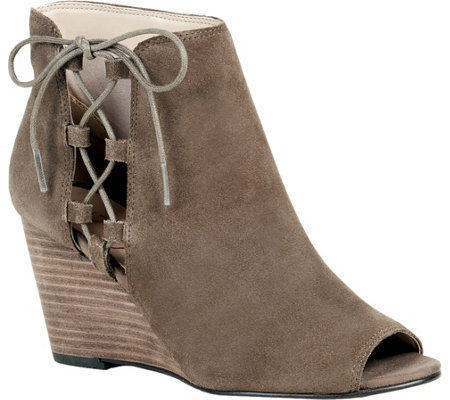 Sole Society Lace-Up Wedge Booties  - Bobbi