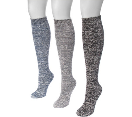 MUK LUKS Women's 3 Pair Pack Diamond Knee HighSocks