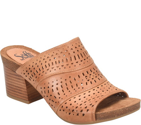 Sofft Leather Slide Sandals - Magnolia