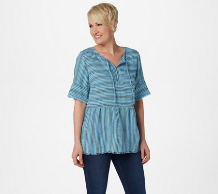 Denim & Co. Striped Pullover Top with Fringe Detailing