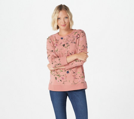 Quacker Factory Floral Printed Pullover with Bling Detail