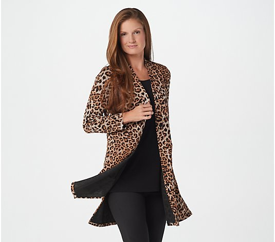 Susan Graver Regular Printed Novelty Knit Duster Cardigan and Tank Set