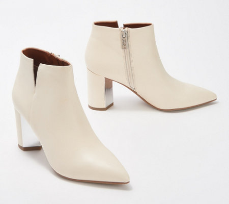 Franco Sarto Leather Exposed Ankle Booties - Nest