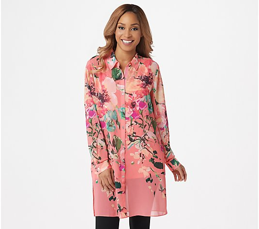 """As Is"" Dennis Basso Printed Chiffon Button- Front Duster and Tank"