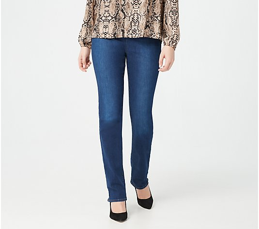 NYDJ Pull-On Straight-Leg Jeans with Side Slits- Cooper