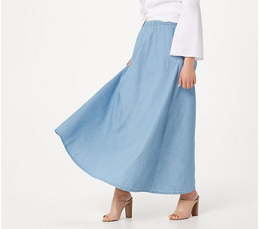 Joan Rivers Petite Pull-On Denim Maxi Skirt