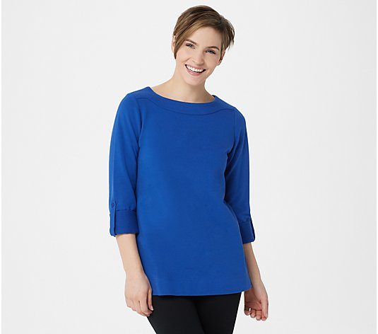 """As Is"" Denim & Co. Active Regular French Terry 3/4- Sleeve Tunic"