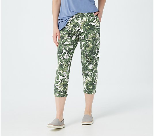 Denim & Co. Printed French Terry Crop Pants
