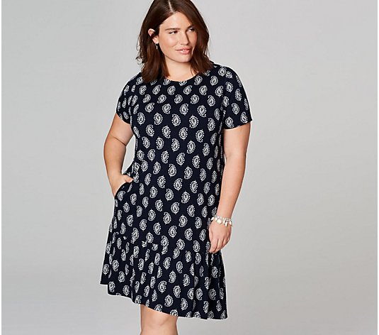 J.Jill Printed Pima Cotton Dress with Flounce Hem