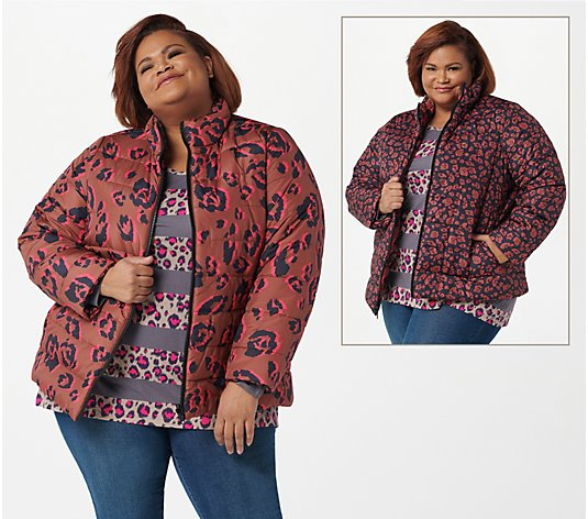"""As Is"" LOGO by Lori Goldstein Reversible Printed Puffer"
