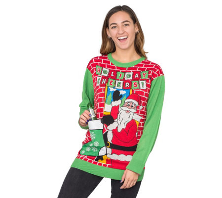 Ugly Christmas Sweater Cheers Drink Holder Stocking Sweater