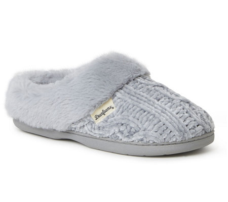 Dearfoams Marled Cable Knit Chenille Clog Slippers