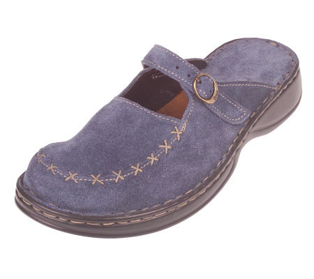 Tsonga Suede Slip-on Comfort Shoes with Stitching Detail