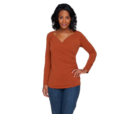 Susan Graver Liquid Knit Long Sleeve Surplice Wrap Top w/Ruching