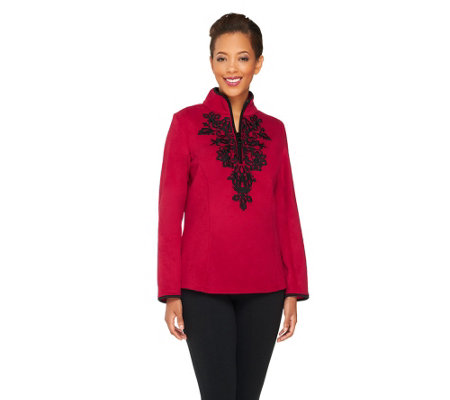 Susan Graver Polar Fleece Embroidered Front Pullover Top