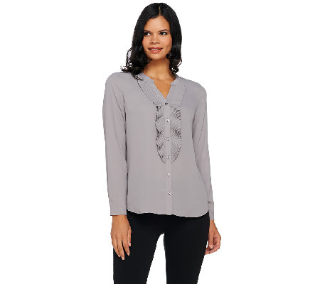 Susan Graver Feather Weave Button Front Shirt with Ruffle Detail